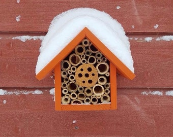 Mason Bee House, Single Tier, in 'Honey Mango'. Can be personalised.