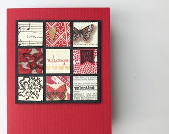 Handmade Valentine - Handmade Collage, Butterflies, Romantic, Love - Red, Metallic Gold - Valentine's Day Card , I love you card