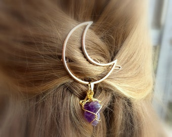 Moon Hair Clip - Amethyst Gifts For Women - Gift Under 15 For Her - Womens Stocking Stuffer - College Student Gift - 2017 Burning Man Outfit