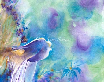 Watercolor Bird art - ORIGINAL WaterColour Painting ONLY 100 dollars Finch Flush-Out  Wild Abstract Blue Purple New Mexico 9x12