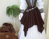 HOLIDAY SALE Gray Black Skulls Pirate Wedding Gown Dress Costume. Different Fabrics Available For The Bodice.