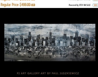 """17% OFF /ONE WEEK Only/ Enormous Chicago City Scape Skyline Knife Abstract by Paul Juszkiewicz 60""""x24"""" black & white - Ready To Ship"""