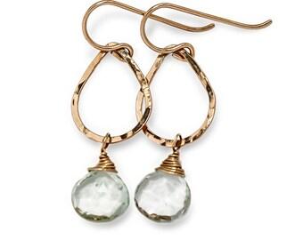 Green Amethyst Drop Earrings - Petite Green Amethyst Teardrop Earrings 14k Gold Fill Hoop - Tiny Gold Hoops - Tiny Green Amethyst Earrings