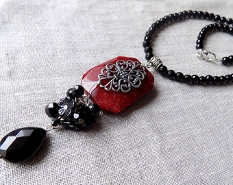 Black onix necklace with ruby stone necklace
