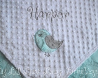 Baby blankets personalized - bird baby blanket - gender neutral baby gift - baby shower gift - baby gifts personalized - stroller blanket