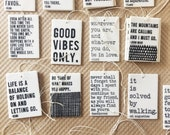 discounted 10 porcelain tags with screenprinted text.