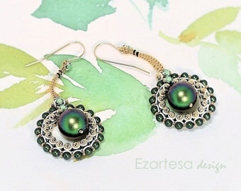 Green Beaded Drop Dangle Earrings with Green Swarovski Crystal Pearls, Light Green Crystals, Gold Seed Beads and Gold Filled Earwires