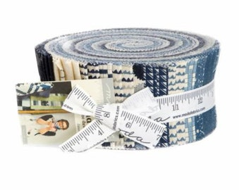 """Aubade: A Song to the Dawn by Janet Clare for Moda Fabrics - Jelly Roll 2.5"""" Strips Modern Blue, Taupe, Cream"""