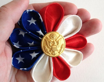 Patriotic American Flag Silk Lapel Pin with Gold Army Button - Handmade in USA