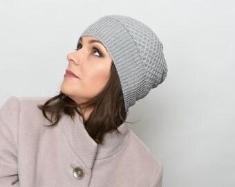 Gray beanie- knit beanie- gray beanie hat- merino wool beanie- womens hat