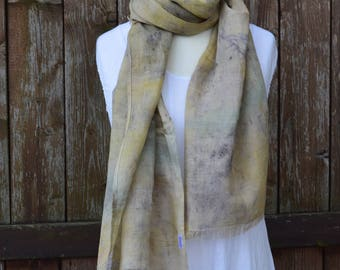 Cotton scarf, summer scarf, spring scarf, linen scarf, women scarf, hand dyed scarf