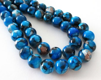 "Blue Marbled Porcelain Beads - Smooth Round Porcelain Beads - Drilled Natural Stone Beads - 12mm - 16"" Strand - Diy Jewelry Making"