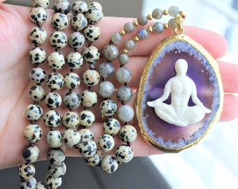Mala Necklace Mala Jewelry Mala Beads Necklace Yoga Necklace Yoga Jewelry Agate Slice Necklace Agate Jewelry Boho Necklace Boho Jewelry