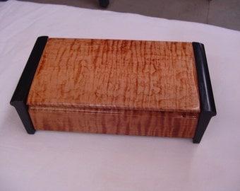 Jewelry Box, Trinket Box, Memorial Box, Tiger, Curly Maple Box, Storage Box, Stationary Box