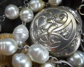 Everlasting          Antique French Mistletoe Oak Compact Pendant South Sea Pearl Necklace