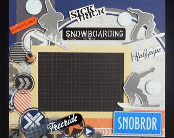 SNOWBOARDING Premade Memory Album Page (Gallery Wood Frame Sold Separately)