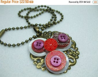 SALE 50% OFF Vintage Beautiful Unique Hand Made MOP Vintage Button Brooch--One of a Kind-Red