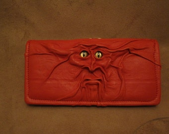 Grichels leather ladies wallet - red with red and gold slit pupil shark eyes