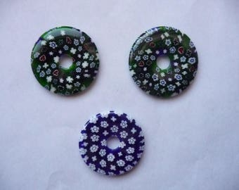 Focal, Millefiori glass multicolored, Package of 3 round 40mm