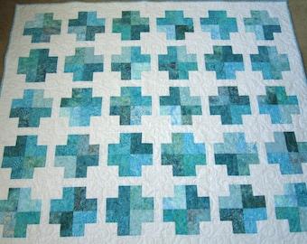 Homemade Quilt, Batik Quilt, Aqua Quilt, Handmade Quilt, Patchwork Quilt, Lap Quilt, Quilted Throw, Sofa Quilt, Home Decor,Quilts