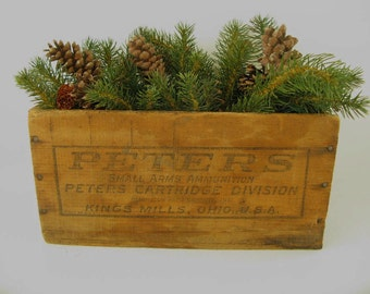Vintage  Ammunition Wood Crate, Peters, Box, Advertising, loaded shells,
