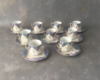 Vintage Cappuccino  Demitasse Cup and Saucer, lusterware, opalescent, blue,  Japan, 50s