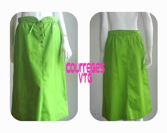 Courreges  70s  vtg lime skirt small