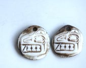 Ceramic earring components ceramic  pendants clay charms tribal clay art Beads earthy organic jewelry components supplies potterygirl