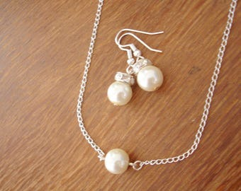 Sale - One Pearl Floating Pearl Necklace and Earrings Sets - bridal jewelry, bridesmaid necklace