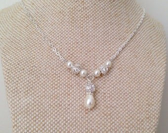 Petite Bridal Y Necklace, with backdrop on Necklace, Wedding Y Style Necklace,