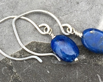 Small Sterling Silver Hoop Ear Wires with Blue Lapis Oval Stones