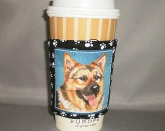 Coffee Cozy - German Shepherd - Coffee Cuff -  Coffee Sleeve - Reuseable Fabric Cozy - Eco Friendly - Dog - Paw Prints