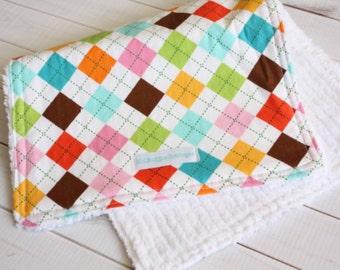 Chenille Burp Cloth - Argyle - Baby Gift