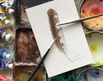 Northern Saw Whet owl feather study - Original Watercolour
