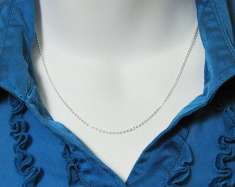 Sterling Silver Chain - Solid Flat Cable Chain - Finished , Ready to Wear - 26 inches ( 1 pc) - Long Chain Necklace - SKU: 601029