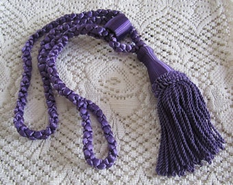 VINTAGE Pair of Curtain/Drape  Purple Tassel Tiebacks