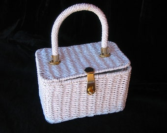 1950s - White rattan plastic coated square hand purse