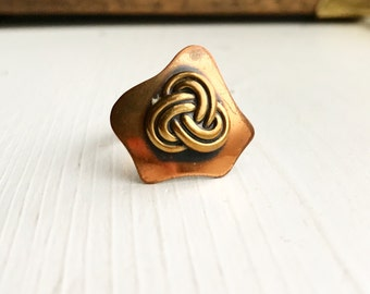 Vintage Copper and Brass Knot Ring / Adjustable Viking Celtic Style Renaissance Faire Costume Festival Medieval