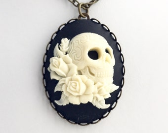 Skull and Roses Cameo Necklace / Pick Your Length / Pendant Pirate Steampunk Halloween Costume Gothic Renaissance Faire Day of the Dead