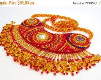Holiday Sale Red and Gold Bead Embroidered Necklace Baby You're a Firework