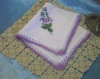 Ladies Handkerchief, Hanky, Hankie, Women's, Floral, Lavender, Lace, Hand Crochet, Embroidered, Personalized, Monogrammed, Ready to ship