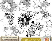 75% SALE Star Digital Frame ClipArt - Swooshy Shooting Star Label Clip Art - PNG & Photoshop Brushes - Graduation - School Teacher