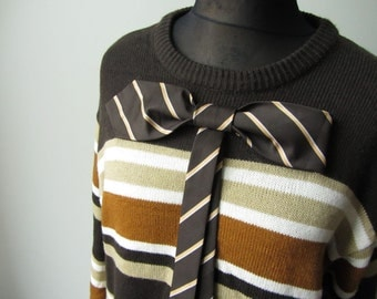 Brown Oversized Striped Sweater, Upcycled Sweaters, Big Bow Sweater, Repurposed Neckties, Sweater Dress, Tunic Sweater, Boyfriend Sweater