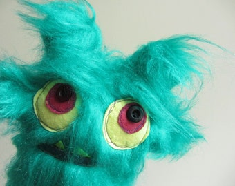 Green Plush Monster, Monster Party Favors, Stuffed Animal Creature, Plush Toy, Silly Monster, Furry Monster Doll, Ugly Doll, Creepy Cute