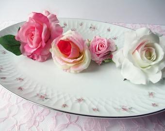Large Serving Platter Vintage Noritake Mabel Pink Gray Rose