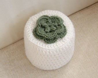 Irish Rose Crochet Toilet Paper Cover, Flower Cozy, Storage, Bathroom Organization, Green and White, Floral Home Decor