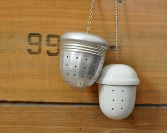 Vintage Lot of 2 Acorn Tea Ball Strainers Aluminum and Porcelain Herb Infuser