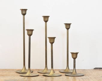 Vintage Brass Candlestick Lot Set of Six Candle Holders Tarnished Brass Home Deco Display 6 Graduated Candleholders