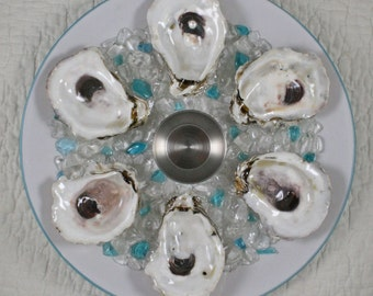 Coastal Oyster Plate with Real Oyster Shell Wells