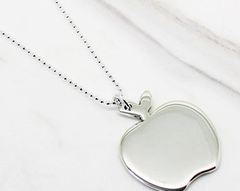 Apple Sterling Silver Necklace, apple pendant, apple, silver apple, apple charm, apple necklace, silver apple necklace, gifts for teachers